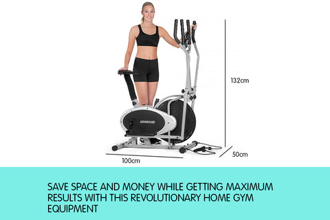 92be7daece199 2-in-1 Elliptical cross trainer and exercise bike with resistance bands