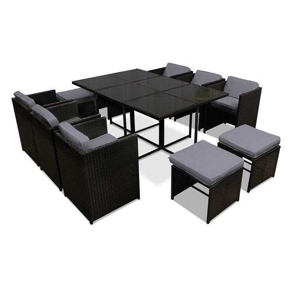 Capetown Dining 10 Seater Set – Black & Grey