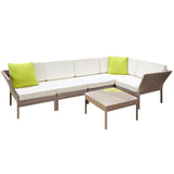 Stackable 6 pcs Brown Wicker Rattan 5 Seater Outdoor Lounge Set Beige