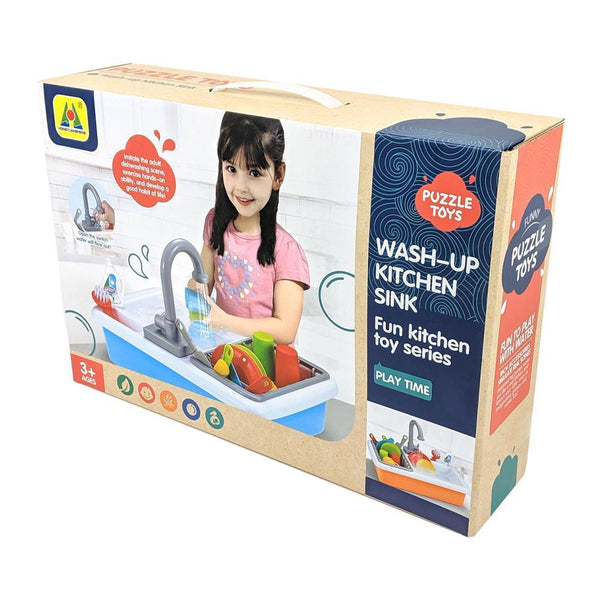 Fun Toy Kitchen Wash-Up Kitchen Sink with Working Water