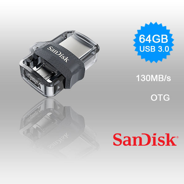 SANDISK OTG ULTRA DUAL USB DRIVE 3.0 FOR ANDRIOD PHONES 64GB 150MB/S  SDDD3-64G
