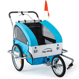 Blue Kids Bike Trailer & Jogger