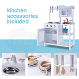 Wooden Kitchen Vintage Pretend Play Set Retro Toy Cooking Cookware