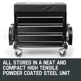 2 in 1 Rolling Metal Tool Box and Stool