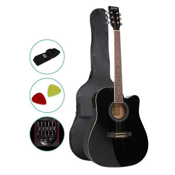 "41"" 5- Band EQ Electric Acoustic Guitar Full Size Black"