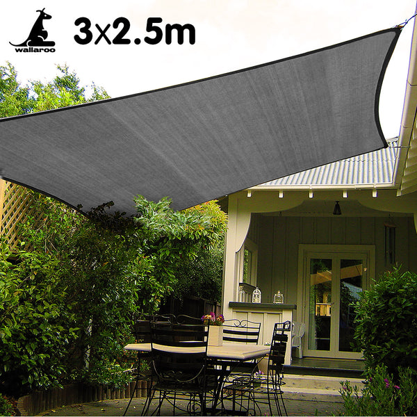 Wallaroo Rectangular Shade Sail 3m x 2.5m - Grey