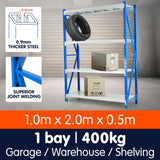 1 Bay Garage Storage Steel Rack Long Span Shelving 1.0m-wide 400kg