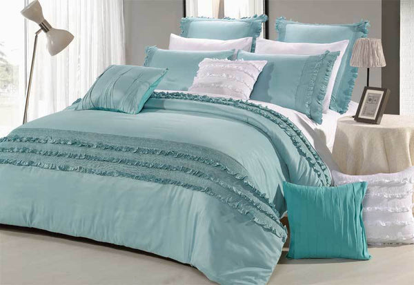 Queen Size Haze Aqua Quilt Cover Set (3PCS)