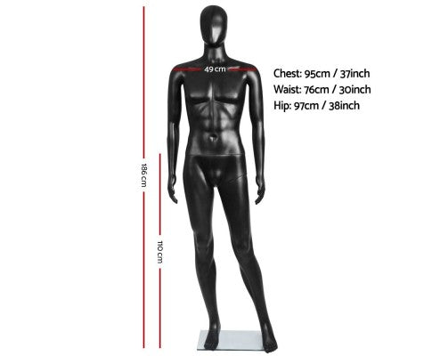 Full Body Male Mannequin Cloth Display Tailor Dressmaker Black - 186cm