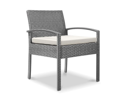 Outdoor Furniture Bistro Wicker Chair Grey