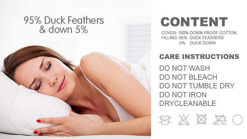 Duck Down Feather Pillow Twin Set - 1.3kg