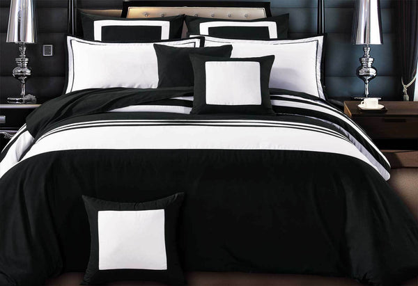 Super-King-Size-Rossier-Black-White-Striped-Quilt-Cover-Set(3PCS)