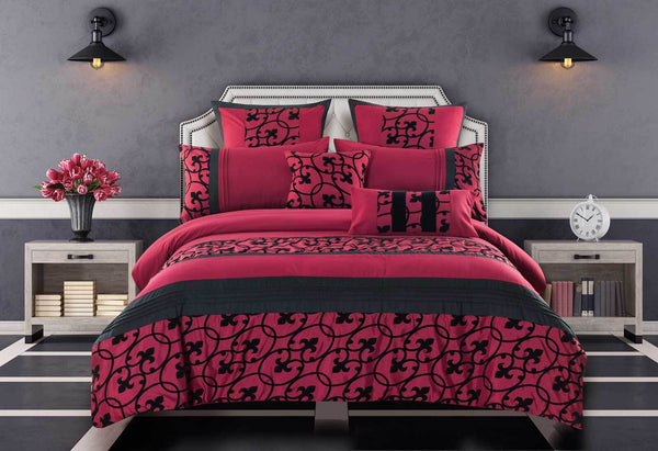 Queen-Size-Afton-Red-and-Black-Quilt-Cover-Set-(3PCS)