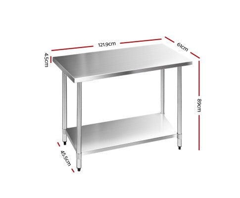 430 Stainless Steel Kitchen Work Bench Table 610X1219mm