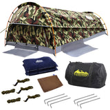 Double Camping Canvas Swag Tent Green Camouflage w/ Bag