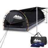 Double Camping Canvas Swag with Mattress and Air Pillow - Grey