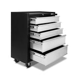 5 Drawers Roller Toolbox Cabinet  Black Grey