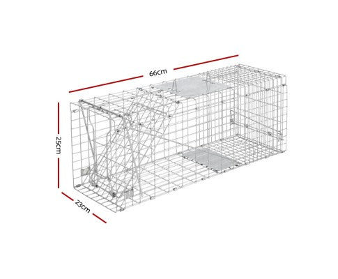 Set of 2 Humane Animal Trap Cage 66 x 23 x 25cm Silver