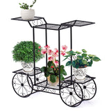 Metal Plant Stand 6 Plant Pots Flower Planter D?cor Corner Shelf Black