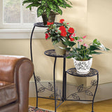 Wrought Outdoor Indoor Flower Pots Plant Stand Garden Metal Corner Shelf Black