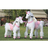 Pink and White Unicorn Ride on Toy Mechanical Simulated Galloping System - Medium Size
