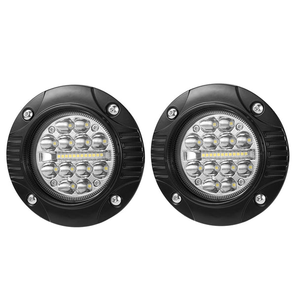 2x 5 inch Cree Flush Mount LED Work Light Bar Combo Reverse Round Fog Lamp 4WD