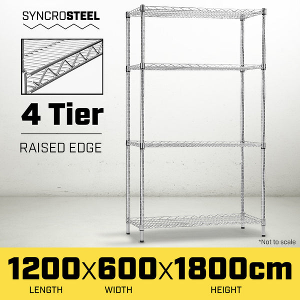 Syncrosteel Chrome Wire Shelving Storage Unit 1200 x 600mm - 1.8m high