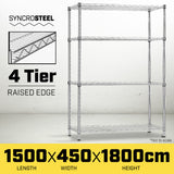 Syncrosteel Chrome Wire Shelving Storage Unit 1500x450mm - 1.8m High