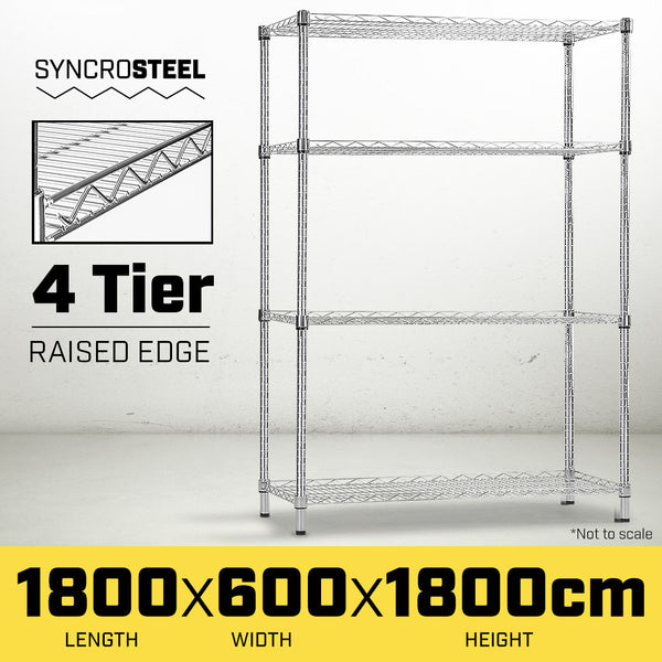 Syncrosteel Chrome Wire Shelving Storage Unit - 1800x600mm - 1.8m High
