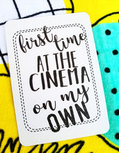 First time at the cinema on my own. Milestone cards for your 20s. Adulting is hard. Life is a journey... share your ride! Milestone cards for grown-ups.