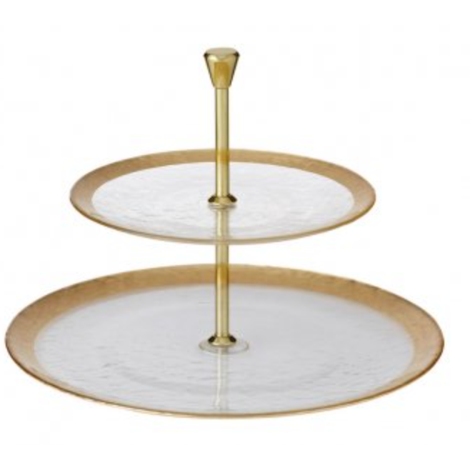 Gold Ice 2 Tier Serving Platter