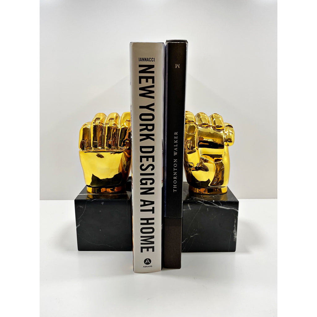 Golden Hand Marble Bookend