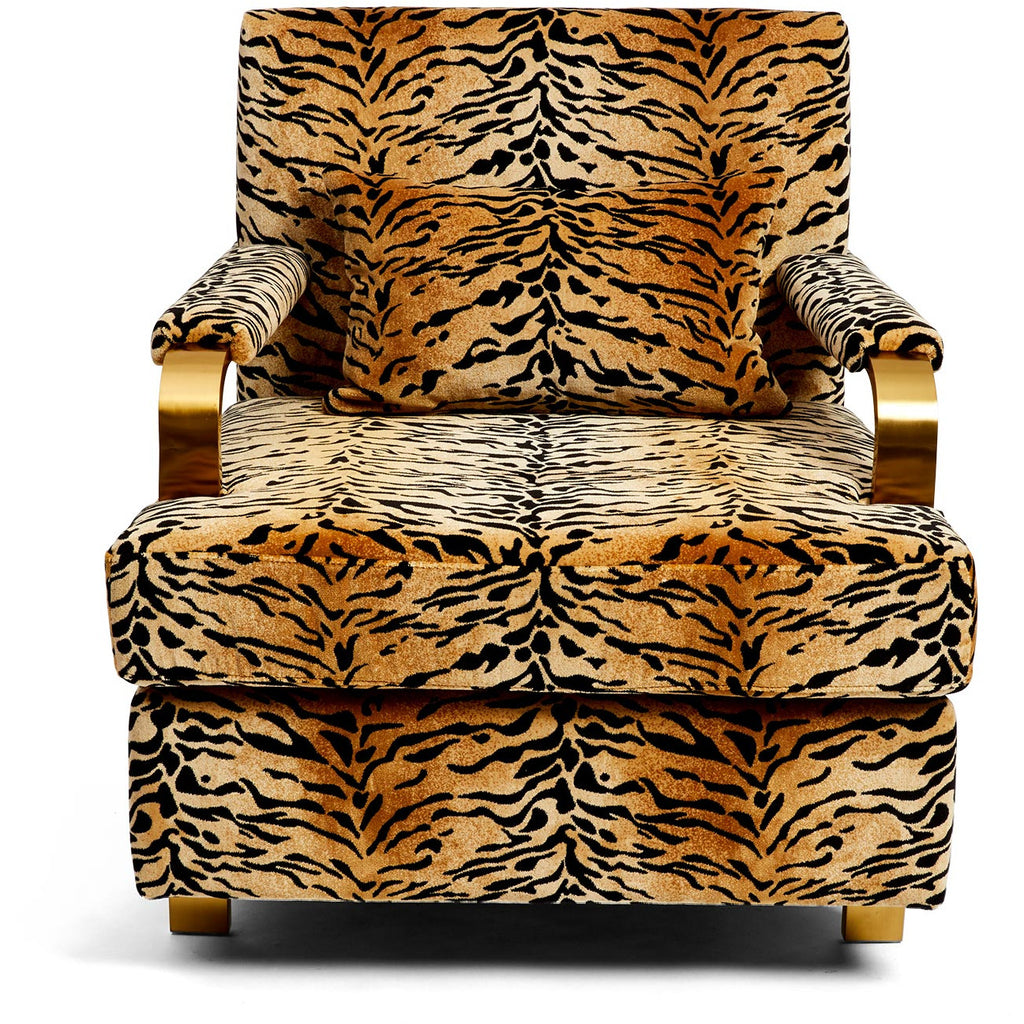 Eldred Velvet Tiger Chair
