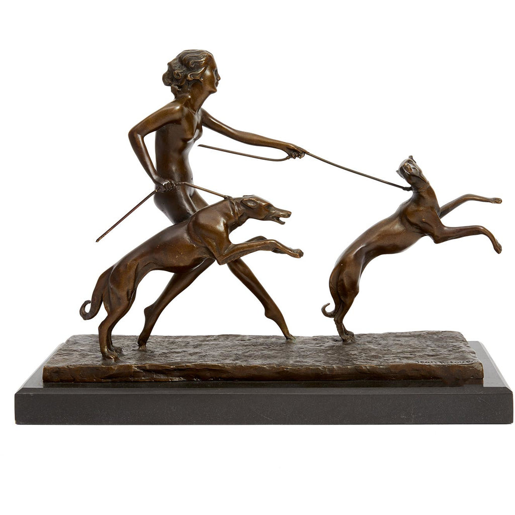 French Art Deco Woman with Grey Hounds
