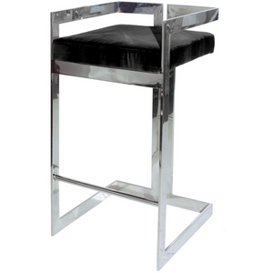 Hearst Nickel & Black Velvet Bar Stool