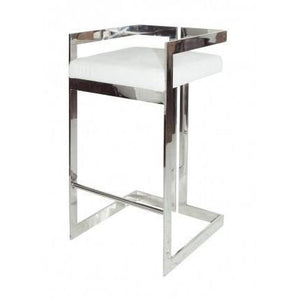 Hearst Nickel & White Vinyl Bar Stool