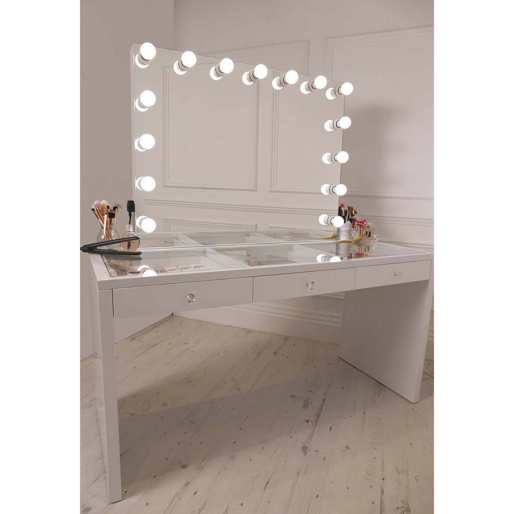 Hollywood bluetooth frameless mirror with vanity desk