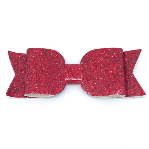 Leatherette Bow Clip - Red Glitter (Smooth)