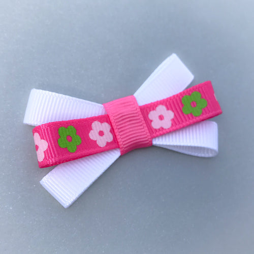 Small Triple Bow Clip - White/Pink Flowers