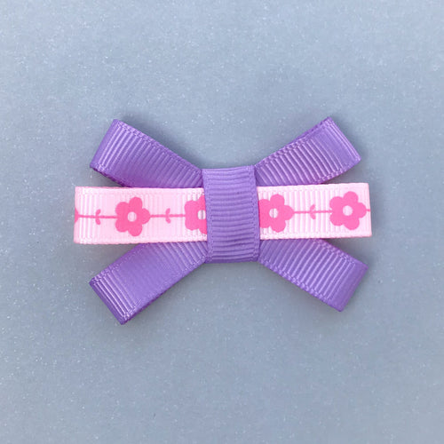 Small Triple Bow Clip - Pink Flowers
