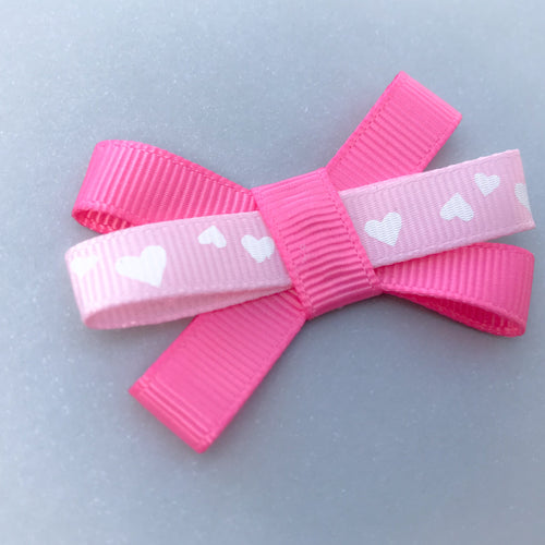 Small Triple Bow Clip - Pink Hearts