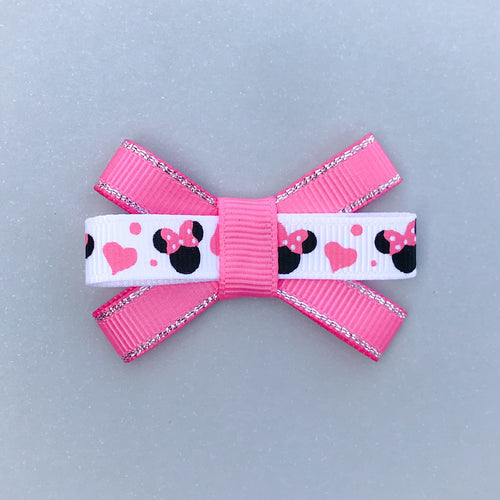 Small Triple Bow Clip - Minnie (Pink/Silver)