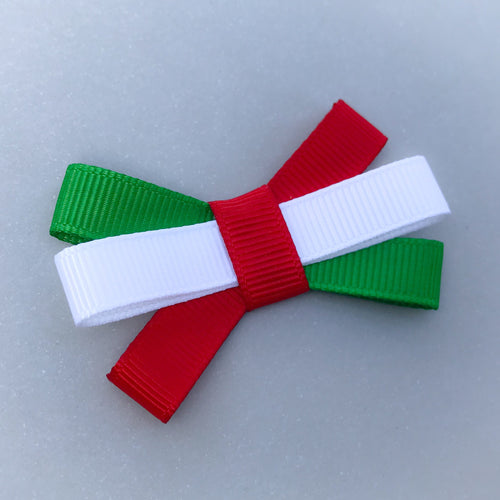 Small Triple Bow Clip - Red, White & Green