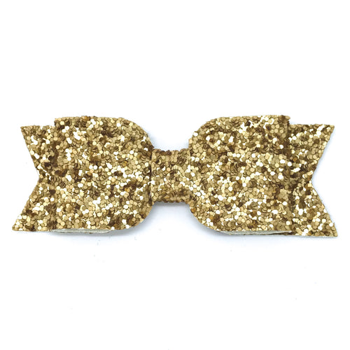 Leatherette Bow Clip - Chunky Glitter (Yellow Gold)