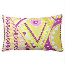 Pillow or Lumbar Pillow Braniff Pucci Design 1968 Classic Collection Vivara Yellow Plum Pink