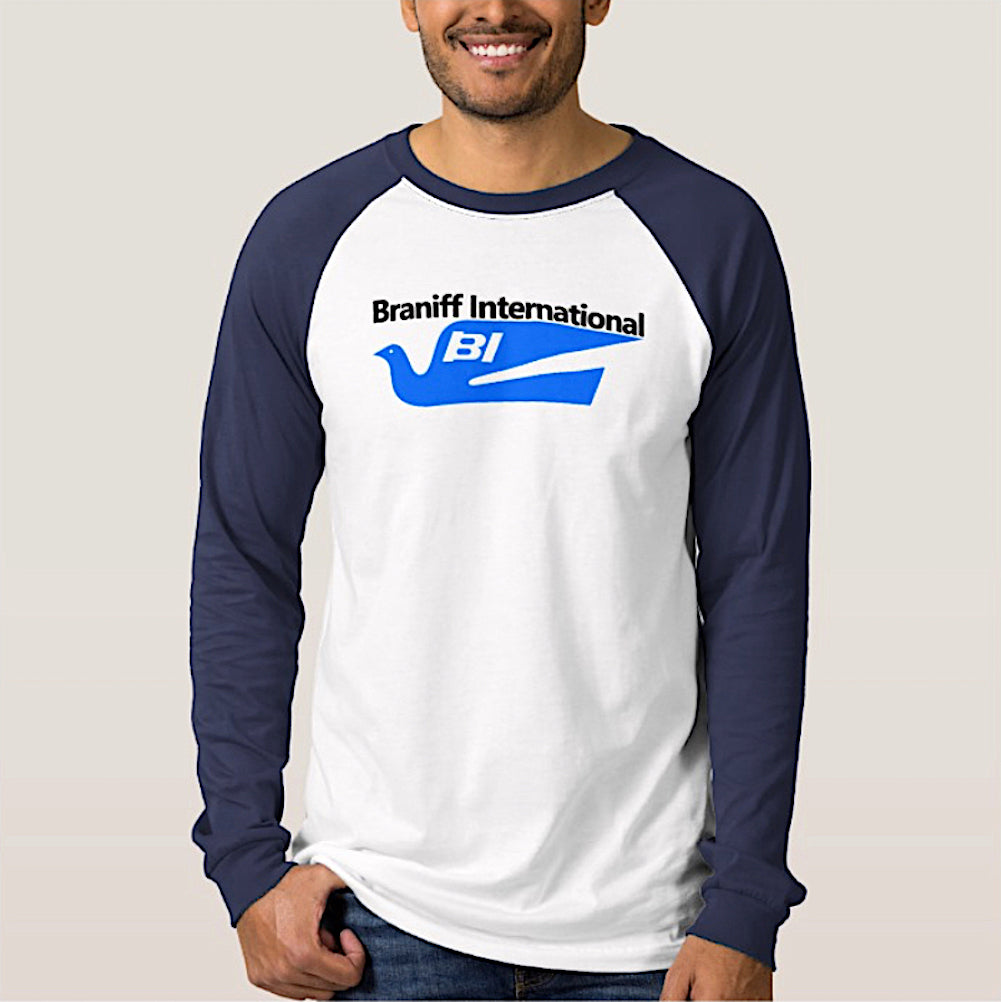 T-Shirt Braniff 1978 Bluebird of Happiness Logo White Dark Blue Long Sleeve