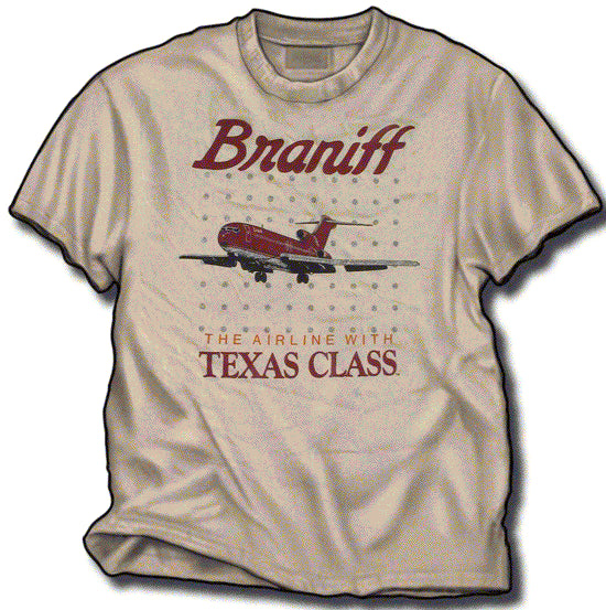 T-Shirt Braniff Sheppard Collection 1981 Texas Class 727 Ultra Burgundy Beige
