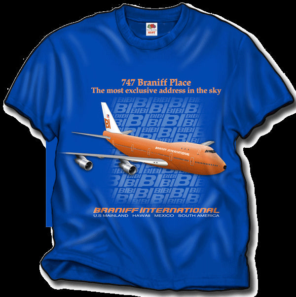 T-Shirt Braniff Sheppard Collection 1971 747 Braniff Place Dark Blue