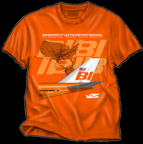 T-Shirt Braniff Sheppard Collection 1971 747 Braniff Place Route Map Orange