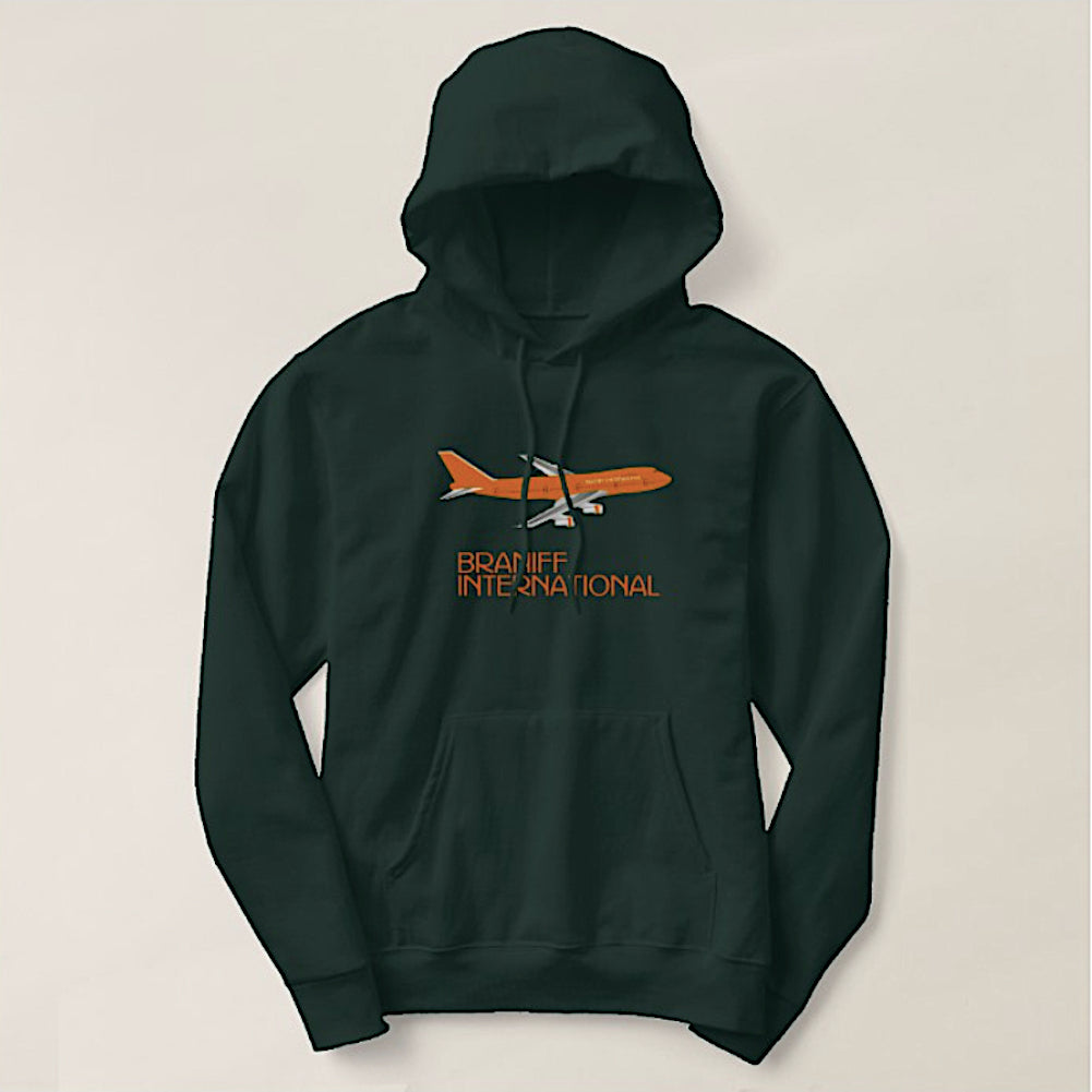 Hoodie Sweatshirt Braniff Big Orange 747 Dark Green Long Sleeve
